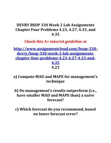 DEVRY BSOP 330 Week 2 Lab Assignments Chapter Four Problems 4
