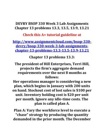DEVRY BSOP 330 Week 3 Lab Assignments Chapter 13 problems 13