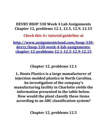 DEVRY BSOP 330 Week 4 Lab Assignments Chapter 12