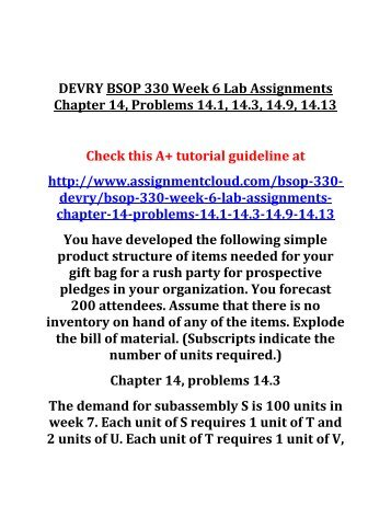 DEVRY BSOP 330 Week 6 Lab Assignments Chapter 14