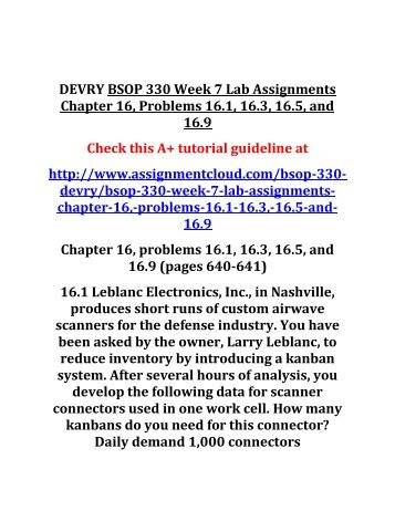 DEVRY BSOP 330 Week 7 Lab Assignments Chapter 16