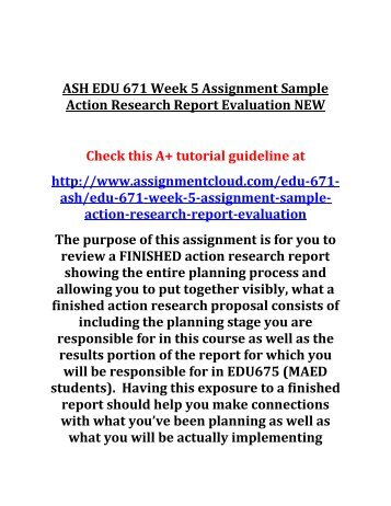 Edu  Week  Assignment Sample Action Research Report Evaluation New
