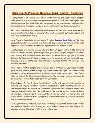 High Quality Premium Business Card Printing - Axisflyers