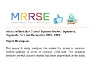 Industrial Emission Control Systems Market : Dynamics, Segments, Size and Demand to  2015 - 2023