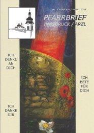 Pfarrbrief Innsbruck / Arzl - Nr. 3 Erntedank / Herbst 2016