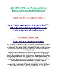 ASH EDU 695 Week 1 Assignment 21st Century Framework Revision NEW
