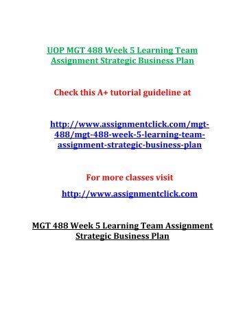 UOP MGT 488 Week 5 Learning Team Assignment Strategic Business Plan