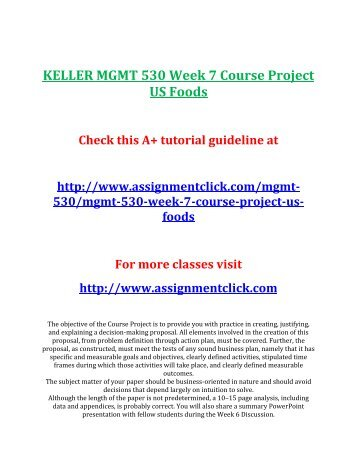 MGMT 530 Entire Course