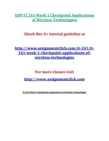 UOP IT 241 Week 1 Checkpoint Applications of Wireless Technologies