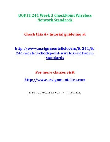 UOP IT 241 Week 3 CheckPoint Wireless Network Standards