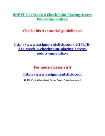 UOP IT 241 Week 6 CheckPoint Placing Access Points Appendix E