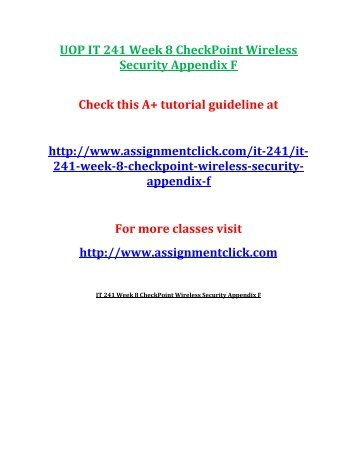 UOP IT 241 Week 8 CheckPoint Wireless Security Appendix F