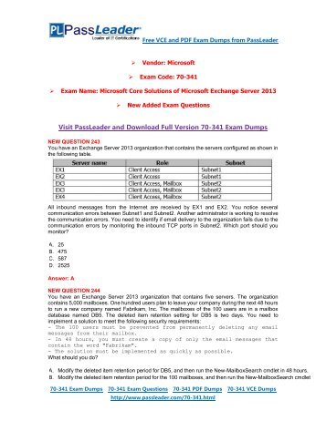 [Aug-2016] New Free PassLeader 70-341 Dumps with VCE and PDF