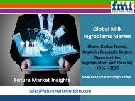 Milk Ingredients Market size and Key Trends in terms of volume and value 2016-2026