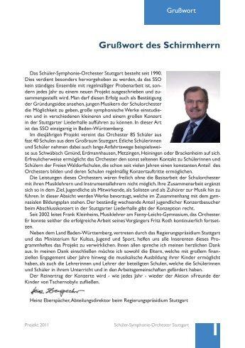 Grußwort des Schirmherrn - Schüler-Symphonie-Orchester Stuttgart