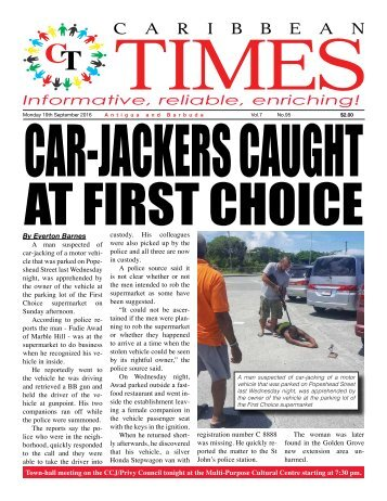 Caribbean Times 95th Issue - Monday 19th September 2016