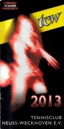 Clubheft des TCW - Ausgabe für 2013