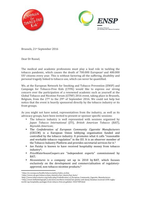 CTFK - Letter to Dr Christopher Russel
