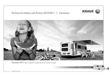 Technische Daten und Preise 2010/2011 | Caravans - Knaus