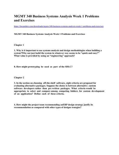 Mgmt 340 Business Systems Analysis Week 1 Problems And Exercises