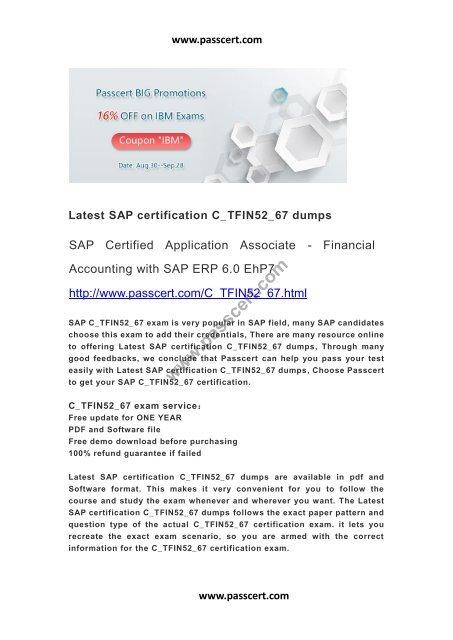 SAP certification C_TFIN52_67 dumps