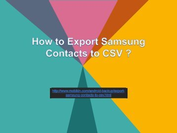 How to Export Samsung Contacts to CSV?
