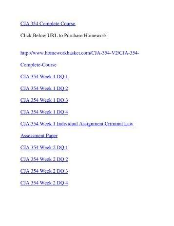 CJA 354 Complete Course,UOP CJA 354,UOP CJA 354 Entire Class,UOP CJA 354 Homework