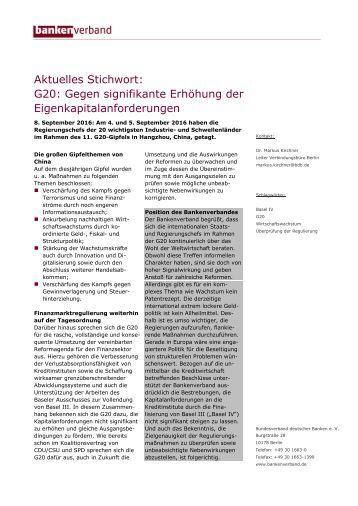 Aktuelles Stichwort: G20: Gegen signifikante Erhöhung der Eigenkapitalanforderungen