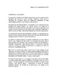 Carta del expresidente Andrés Pastrana a sus copartidarios