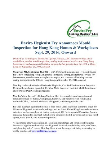 Enviro Hygienist Fry Announces Mould Inspection for Hong Kong Homes & Workplaces Sept. 29, 2016, Onward