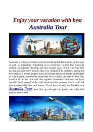 Enjoy your vacation with best Australia Tour