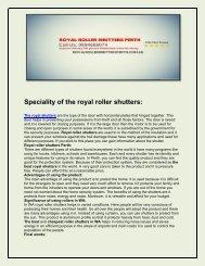 Royal Roller Shutters Perth