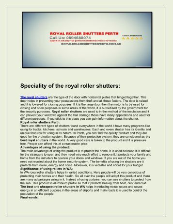 Royal Roller Shutters Perth