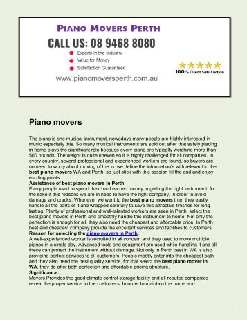 Piano Movers Perth