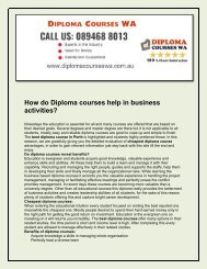 Diploma Courses WA