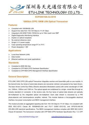 ECP2xx10A-3LCD10(100G CFP2)