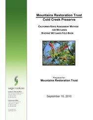 Mountains Restoration Trust Cold Creek Preserve - Department of ...