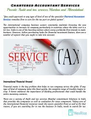 Chartered Accountant Services  – Provide Audit and tax services Mumbai