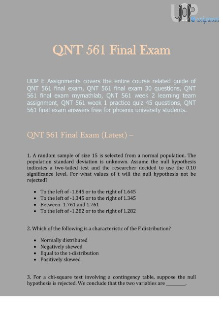 UOP E Assignments | QNT 561 Final Exam - Questions and Answers