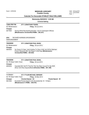 MISSOURI JUDICIARY Franklin County Calendar ... - TownNews.com