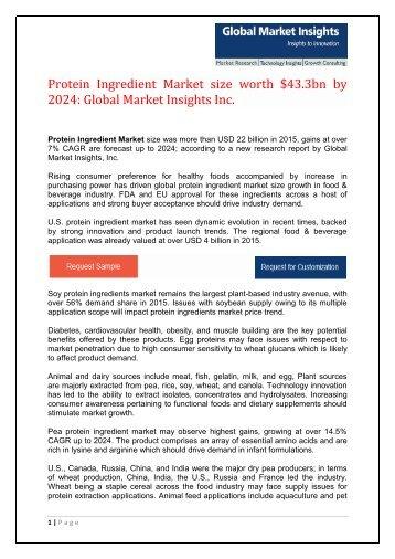 Protein Ingredient Market size to reach $43.3bn by 2024