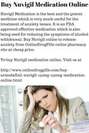 Nuvigil Medication Diminishes Anxiety Disorders