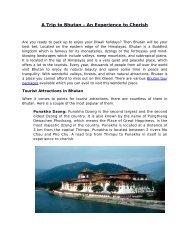 A Trip to Bhutan – An Experience to Cherish