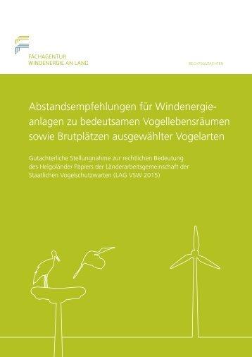 Rechtsgutachten: Abstandsempfehlungen für WEA zu bedeutsamen Vogellebensräumen sowie Brutplätzen ausgewählter Vogelarten