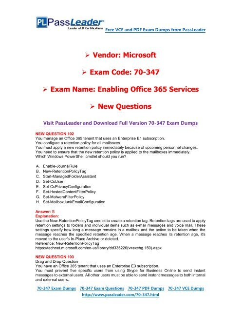 70-347 Exam Dumps With Pdf And Vce