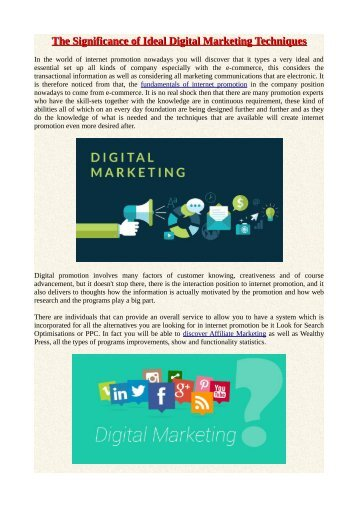 The Significance of Ideal Digital Marketing Techniques