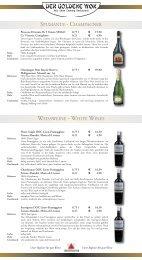 weissweine - white wines spumante - champagner - Der Goldene Wok
