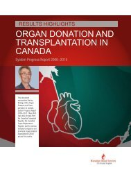 ORGAN DONATION AND TRANSPLANTATION IN CANADA