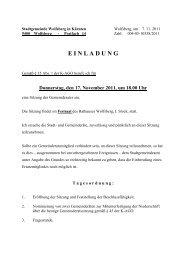 Donnerstag, den 17. November 2011, um 18.00 Uhr - Stadt Wolfsberg