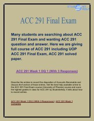ACC 291 Final Exam   ACC 291 Final Exam Questions and Answers   Studentehelp.com